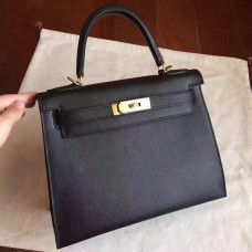 Hermes Black Epsom Kelly Sellier 28cm Handmade Bag
