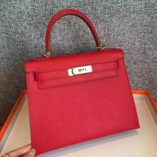 Hermes Red Epsom Kelly Sellier 28cm Handmade Bag