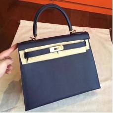 Hermes Sapphire Epsom Kelly Sellier 28cm Handmade Bag