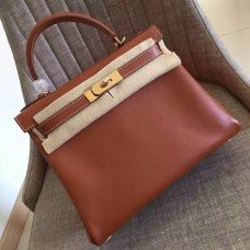 Hermes Gold Swift Kelly Retourne 28cm Handmade Bag