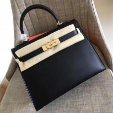 Hermes Black Swift Kelly Sellier 28cm Handmade Bag