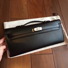 Hermes Black Box Kelly Cut Clutch Handmade Bag