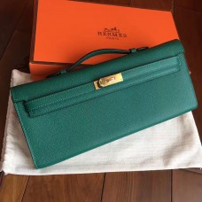 Hermes Malachite Epsom Kelly Cut Clutch Handmade Bag