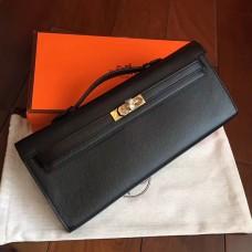 Hermes Black Epsom Kelly Cut Clutch Handmade Bag