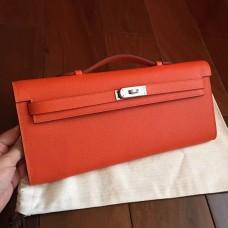 Hermes Orange Epsom Kelly Cut Clutch Handmade Bag