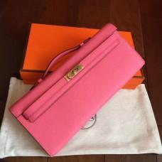 Hermes Rose Lipstick Epsom Kelly Cut Clutch Handmade Bag