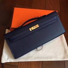 Hermes Sapphire Epsom Kelly Cut Clutch Handmade Bag