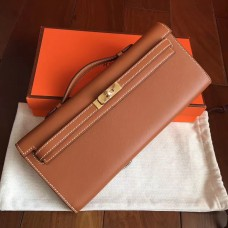 Hermes Gold Swift Kelly Cut Clutch Handmade Bag