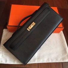 Hermes Black Swift Kelly Cut Clutch Handmade Bag