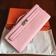 Hermes Rose Dragee Swift Kelly Cut Clutch Handmade Bag