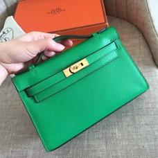 Hermes Bamboo Epsom Kelly Pochette Handmade Bag