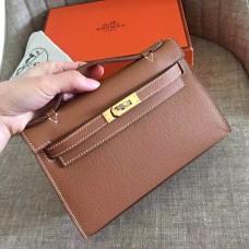 Hermes Gold Epsom Kelly Pochette Handmade Bag