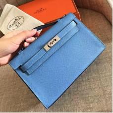 Hermes Celeste Epsom Kelly Pochette Handmade Bag