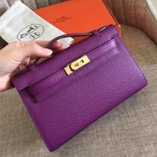 Hermes Cyclamen Epsom Kelly Pochette Handmade Bag