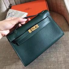 Hermes Malachite Epsom Kelly Pochette Handmade Bag