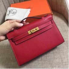 Hermes Rouge Vif Epsom Kelly Pochette Handmade Bag
