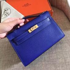 Hermes Electric Blue Epsom Kelly Pochette Handmade Bag