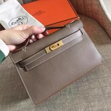 Hermes Etoupe Epsom Kelly Pochette Handmade Bag
