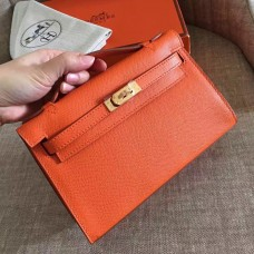 Hermes Orange Epsom Kelly Pochette Handmade Bag