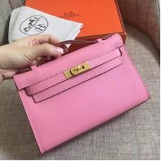 Hermes Pink Epsom Kelly Pochette Handmade Bag