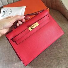 Hermes Red Epsom Kelly Pochette Handmade Bag