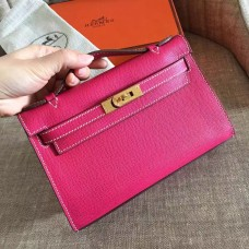 Hermes Rose Red Epsom Kelly Pochette Handmade Bag