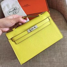 Hermes Soufre Epsom Kelly Pochette Handmade Bag
