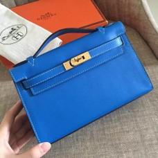 Hermes Blue Izmir Swift Kelly Pochette Handmade Bag