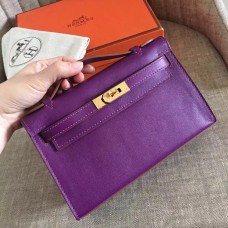 Hermes Cyclamen Swift Kelly Pochette Handmade Bag