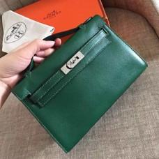 Hermes Malachite Swift Kelly Pochette Handmade Bag