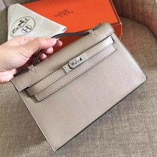Hermes Grey Swift Kelly Pochette Handmade Bag