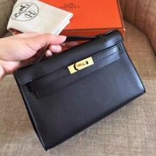 Hermes Black Swift Kelly Pochette Handmade Bag