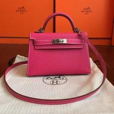 Hermes Rose Red Epsom Kelly Mini II 20cm Handmade Bag