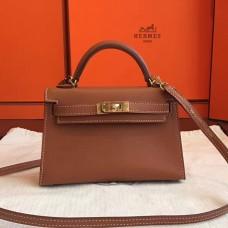 Hermes Gold Swift Kelly Mini II 20cm Handmade Bag