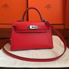 Hermes Red Swift Kelly Mini II 20cm Handmade Bag