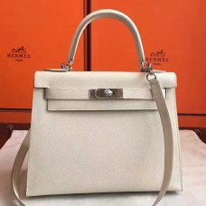 Hermes White Epsom Kelly Sellier 28cm Handmade Bag
