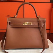 Hermes Brown Swift Kelly Retourne 32cm Handmade Bag