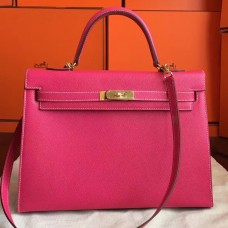 Hermes Rose Tyrien Epsom Kelly 32cm Sellier Handmade Bag