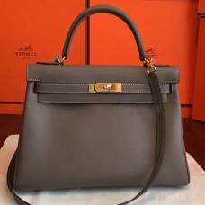 Hermes Etoupe Swift Kelly Retourne 32cm Handmade Bag