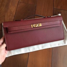 Hermes Bordeaux Epsom Kelly Cut Clutch Handmade Bag