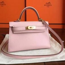 Hermes Rose Dragee Swift Kelly Mini II 20cm Handmade Bag