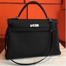 Hermes Black Clemence Kelly Retourne 40cm Handmade Bag
