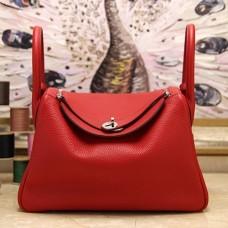Hermes Red Clemence Lindy 34cm Bag