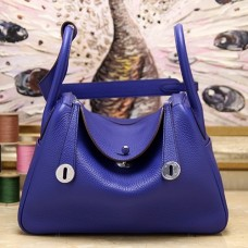 Hermes Blue Electric Clemence Lindy 30cm Bag
