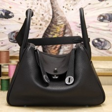 Hermes Black Clemence Lindy 30cm Bag