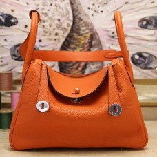 Hermes Orange Clemence Lindy 30cm Bag