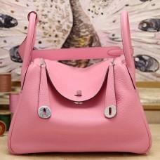 Hermes Pink Clemence Lindy 30cm Bag
