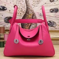 Hermes Rose Red Clemence Lindy 30cm Bag