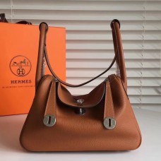 Hermes Brown Clemence Lindy 34cm Bag