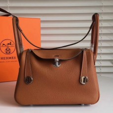 Hermes Brown Clemence Lindy 30cm Bag